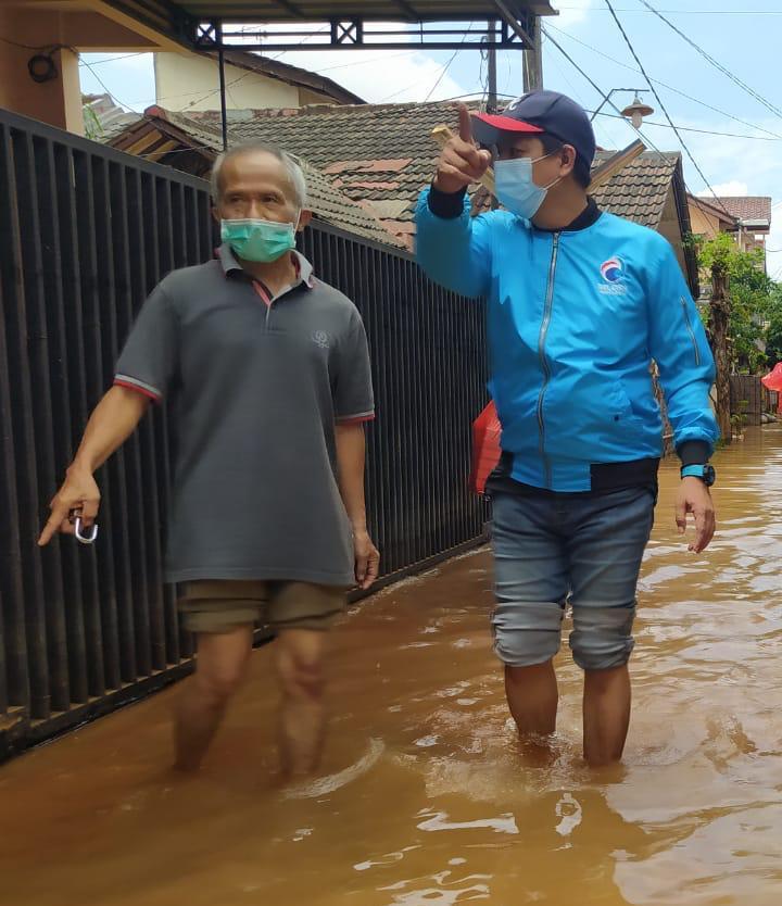Kondisi Banjir di Salah satu Perumahan Warga di Bekasi, Kamis, (25/2).